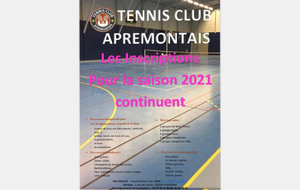 Inscription saison 2020/2021